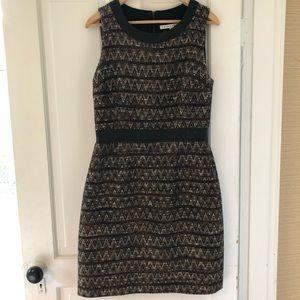 Trina Turk Textured Fall Dress w/ Leather Trim, 12